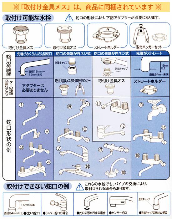 素粒水 取付可能な水栓、蛇口