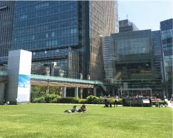 東京ミッドタウン 天気が良い日は芝生で寝ころべます。 レストランも充実しています。