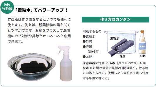 My竹酢液「素粒水」でパワーアップ! 竹炭液は作り置きするといつでも便利に使えます。例えば、観葉植物の葉を拭くとツヤがでます。お酢をプラスして洗濯槽のカビ対策や掃除とかいろいろと応用できます。用意するもの●素粒水 ●竹炭 ●容器(蓋付き) ●お酢  保存容器に竹炭3~4本(長さ10cm位)を素粒水3Lに浸け常温で最低2日間は置く。散布時にお酢を入れる。使用したら素粒水を足し竹炭は半年位で替える。